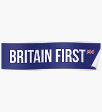 Britain First British UK Flag Union Jack Commonwealth #MBGA Make Britain Great Again Patriots blue background Poster