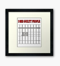 I See Guilty People Funny Corrections Officer Jail Prison Framed Print