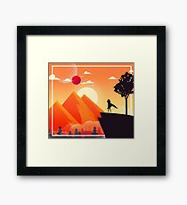 DnD Hero | Orange Scenic Mountain Landscape Framed Print
