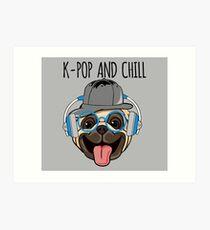K-Pop And Chill Kawaii Dog Art Print