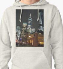 Metropolis, New York, Manhattan, Brooklyn, New York City, architecture, street, building, tree, car,   Pullover Hoodie