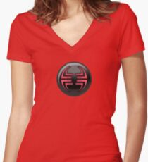 Villain halftone 2 Women's Fitted V-Neck T-Shirt