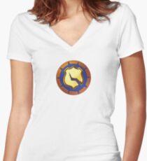 Vigilante halftone Women's Fitted V-Neck T-Shirt