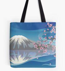 Branch of Sakura and Volcano Tote Bag
