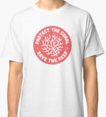 Protect the Coral, Save the Reef. Red Icon.  Classic T-Shirt