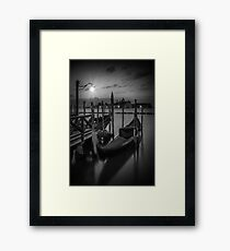 VENICE Gondolas during Blue Hour in black and white Framed Print