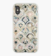 Vinilo o funda para iPhone Azulejos de mármol Art Deco en pasteles suaves