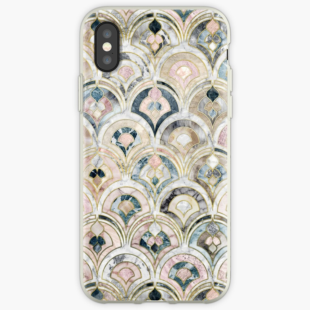 Art Deco Marble Tiles in Soft Pastels iPhone Cases & Covers