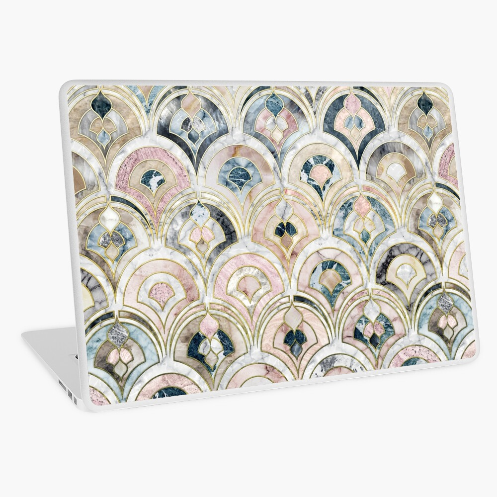 Art Deco Marble Tiles in Soft Pastels Laptop Skin