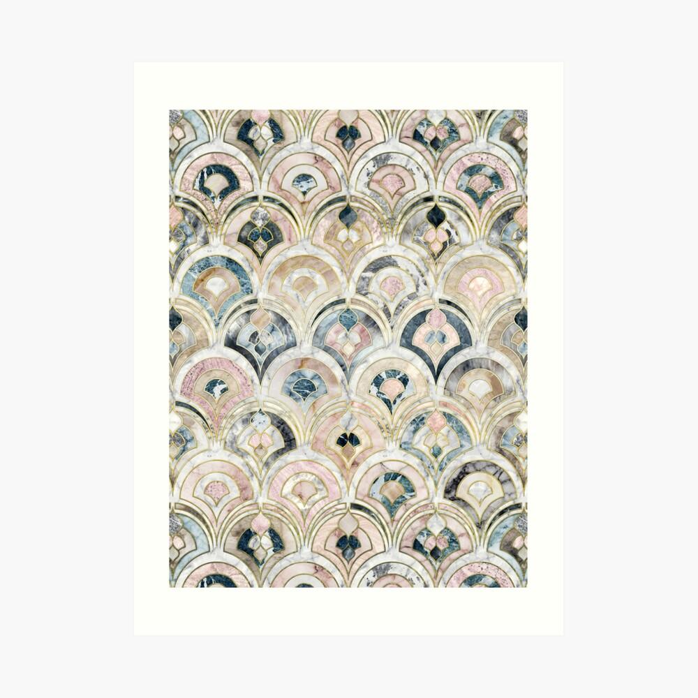 Art Deco Marmorfliesen in weichen Pastellfarben Kunstdruck