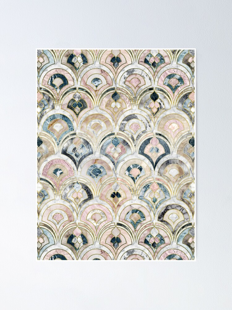 Alternate view of Art Deco Marble Tiles in Soft Pastels Poster