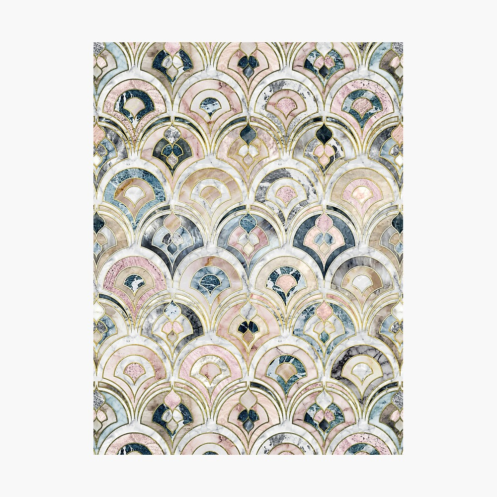 Art Deco Marble Tiles in Soft Pastels Photographic Print