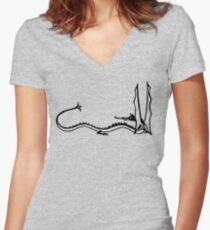 Watercolor Dragon Women's Fitted V-Neck T-Shirt
