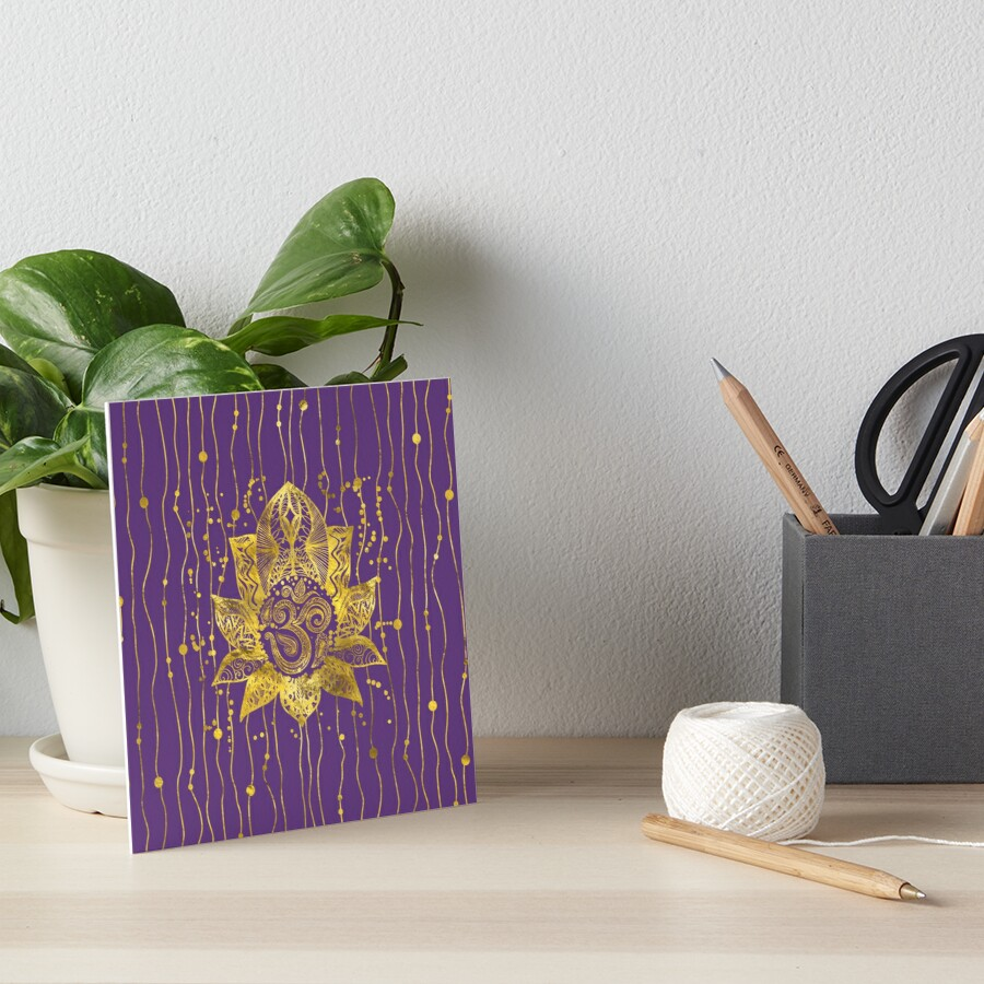 Gold Lotus Flower And Om Symbol Art Boards By K9printart Redbubble