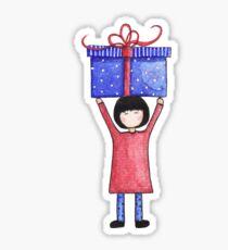 Birthday Girl with Present Sticker