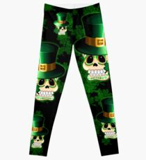 St Patrick Lucky Irish Skull Cartoon  Leggings