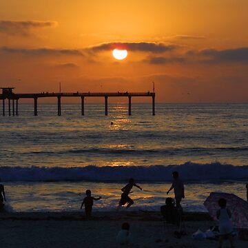 Ocean Beach Sunset by Lines