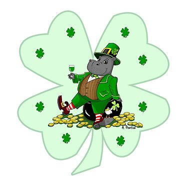 Leprechaun Hippo Clover Saint Patrick's Day Pot of Gold by Hippogal