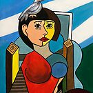 Girl with Bird in the Style of Pablo Picasso by wetherellart