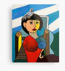 Girl with Bird in the Style of Pablo Picasso Metal Print