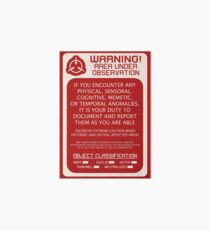 SCP Foundation Red WARNING Signage - Red Background Art Board