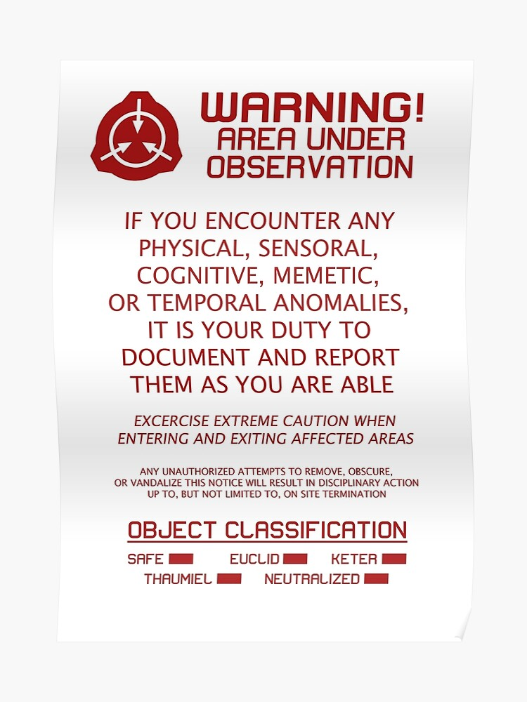 SCP Foundation Red Warning Sign - White Background | Poster