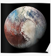 Pluto in Colorized Infrared Poster