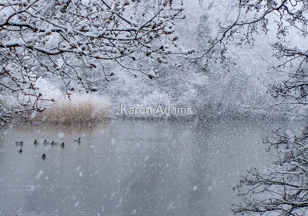 Snowy duck pond - Hampden Park, Eastbourne by Karen Adams