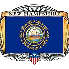 New Hampshire Art Deco Design with Flag by Cleave