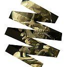 «Cráneo de un esqueleto con un cigarrillo ardiente Remolino geométrico» de maryedenoa