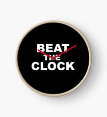 Beat The Clock - black wall clock with white text Clock
