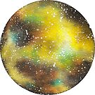 Watercolor Galaxy – Yellow by Stevie Driscoll