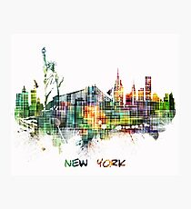 New York City skyline colored cube Photographic Print