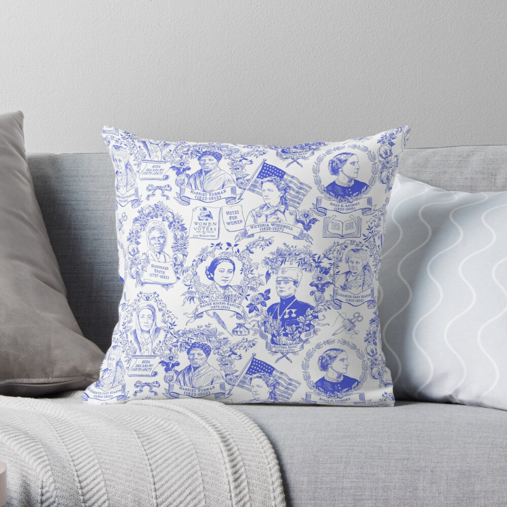 Feminist Pioneers Toile in Royal Blue with Women from Around the World Throw Pillow