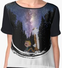 A View to the Milky Way with Calvin and Hobbes Chiffon Top