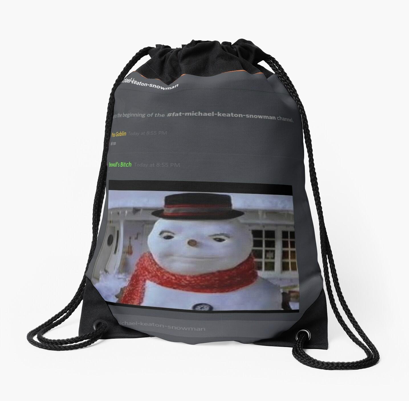 fat michael keaton snowman drawstring bags by clericlyupset redbubble