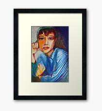 Carmel - Portrait Of A Woman In A Blue Dress Framed Print