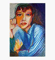 Carmel - Portrait Of A Woman In A Blue Dress Photographic Print