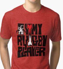 i heart my rugby player Tri-blend T-Shirt