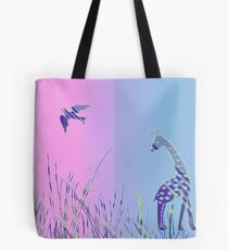 Giraffe and Bird - Panoramic Tote Bag