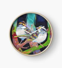White-throated sparrows painting - 2012 Clock