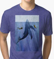 Whale Scuba divers Tri-blend T-Shirt