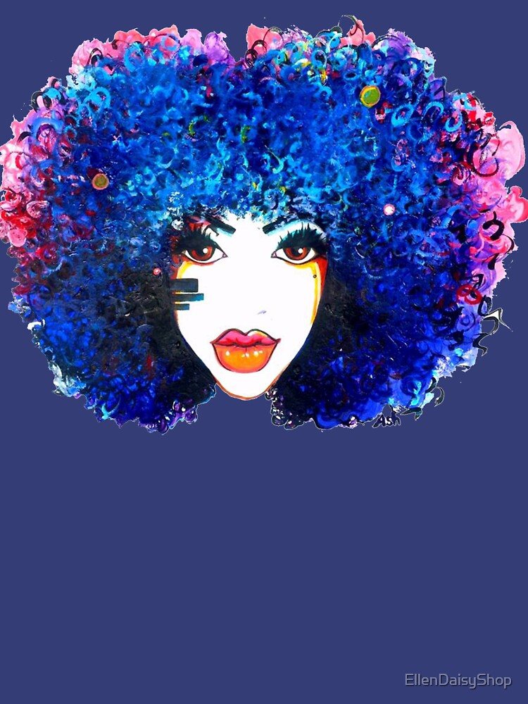 Blaues Afro-gelocktes Haar-Mädchen Brown mustert natürliche Haar-Königin von EllenDaisyShop
