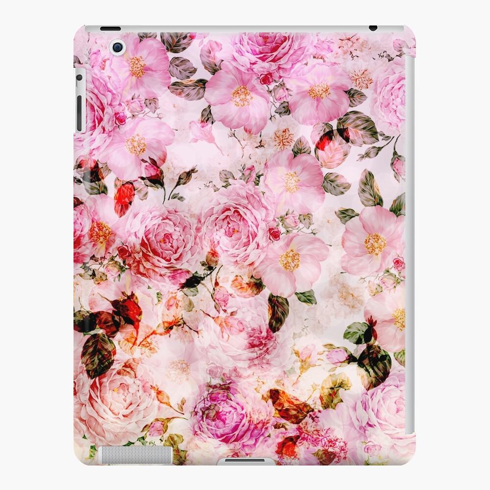 Elegante estampado de flores vintage de color rosa femenino Funda y vinilo para iPad
