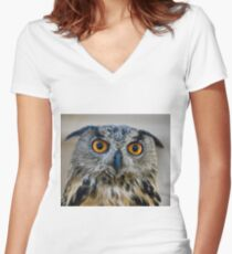 Eurasian Eagle Owl with Eyes On Me Women's Fitted V-Neck T-Shirt