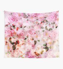 Tela decorativa Elegante estampado de flores vintage de color rosa femenino