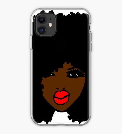Brown Skin Curly Natural Hair Flower Red Lips iPhone Case