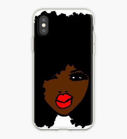 Brown-Haut-gelockte natürliche Haar-Blumen-rote Lippen iPhone-Hülle & Cover