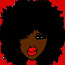 Brown Skin Curly Natural Hair Flower Red Lips by EllenDaisyShop