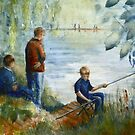 The Fishing Lesson by JayteesArt